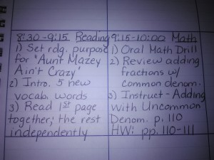 lesson plan book entry